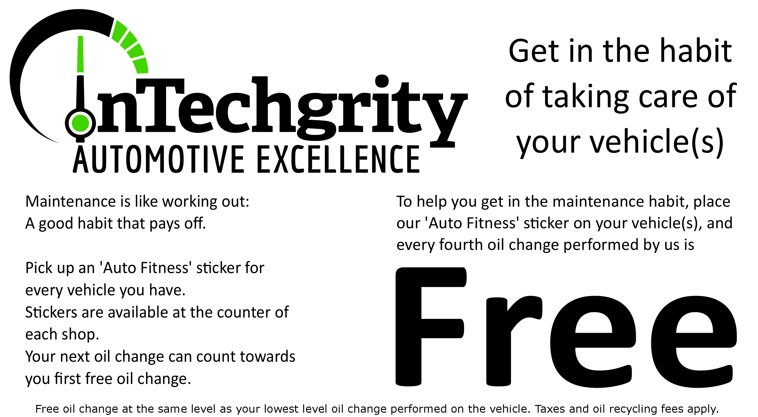 Auto Fitness: Every fourth oil change is FREE