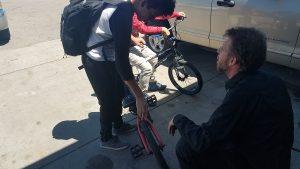 Taking care of the kid's bike